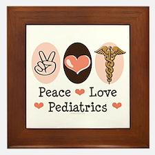 Peace Love Pediatrics Framed Tile
