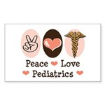 Peace Love Pediatrics Rectangle Sticker 10 pk)