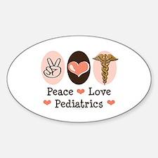 Peace Love Pediatrics Oval Decal