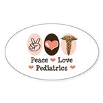 Peace Love Pediatrics Oval Sticker (50 pk)