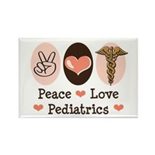 Peace Love Pediatrics Rectangle Magnet