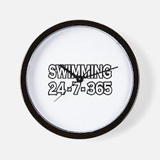 """Swimming 24-7-365"" Wall Clock"