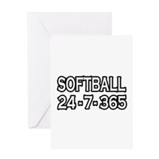 """Softball 24-7-365"" Greeting Card"