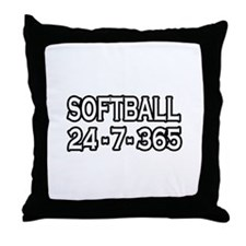 """Softball 24-7-365"" Throw Pillow"