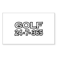 """Golf 24-7-365"" Rectangle Decal"