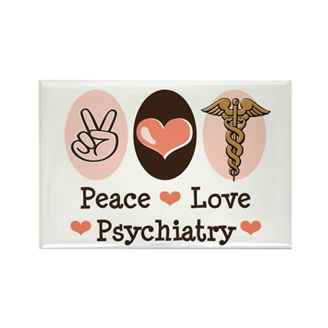 Peace Love Psychiatry Rectangle Magnet
