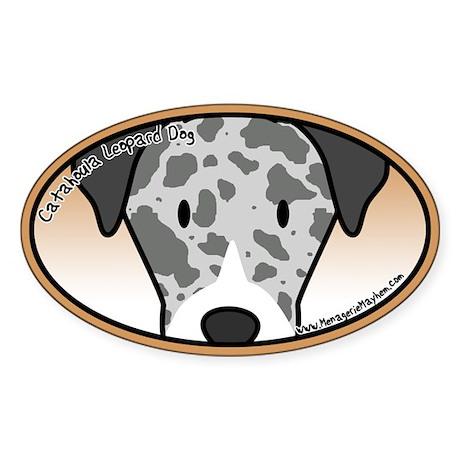Anime Catahoula Leopard Dog Oval Sticker