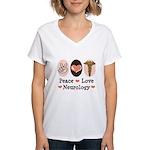 Peace Love Neurology Women's V-Neck T-Shirt