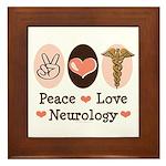 Peace Love Neurology Framed Tile