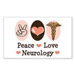 Peace Love Neurology Rectangle Sticker
