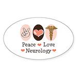 Peace Love Neurology Oval Sticker (10 pk)