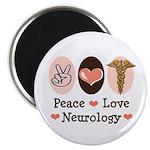 Peace Love Neurology Magnet
