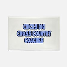 """""""Chicks Dig Cross Country Coaches"""" Rectangle Magne"""
