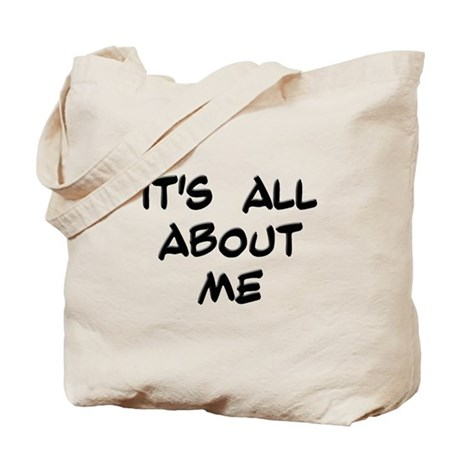 "Black ""It's All About Me"" Tote Bag"