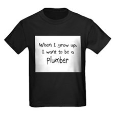 When I grow up I want to be a Plumber Kids Dark T-
