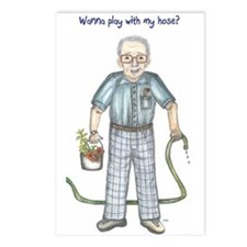 Wanna play with my hose? Dirty old man Postcards (