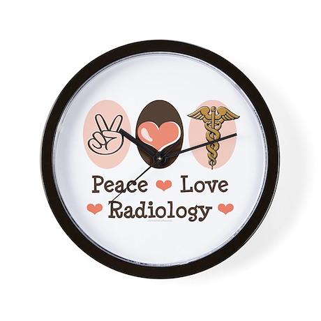 Peace Love Radiology Wall Clock