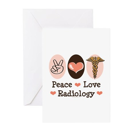 Peace Love Radiology Greeting Cards (Pk of 10)