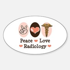 Peace Love Radiology Oval Decal