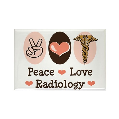 Peace Love Radiology Rectangle Magnet (10 pack)