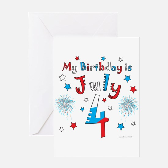 July 4th Birthday Red, White, Blue Greeting Card