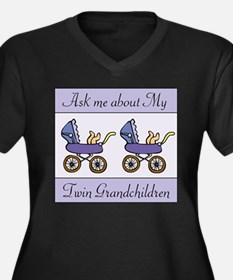 ASK ME ABOUT MY TWIN GRANDCHI Women's Plus Size V-