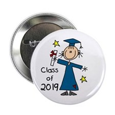 "Stick Figure Girl Grad 2014 2.25"" Button (10 pack)"