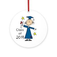 Stick Figure Girl Grad 2014 Ornament (Round)