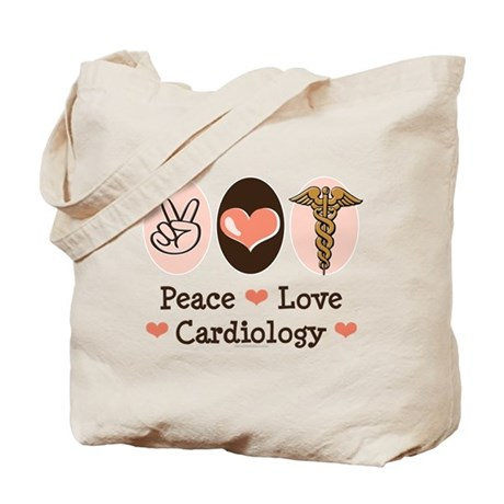Peace Love Cardiology Tote Bag
