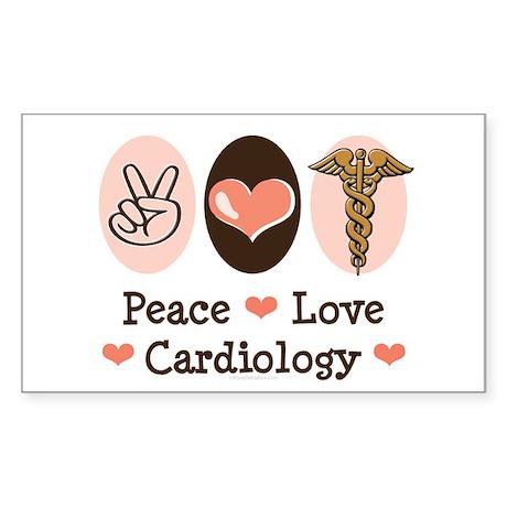 Peace Love Cardiology Rectangle Sticker