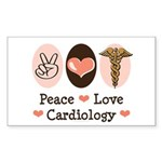 Peace Love Cardiology Rectangle Sticker 10 pk)