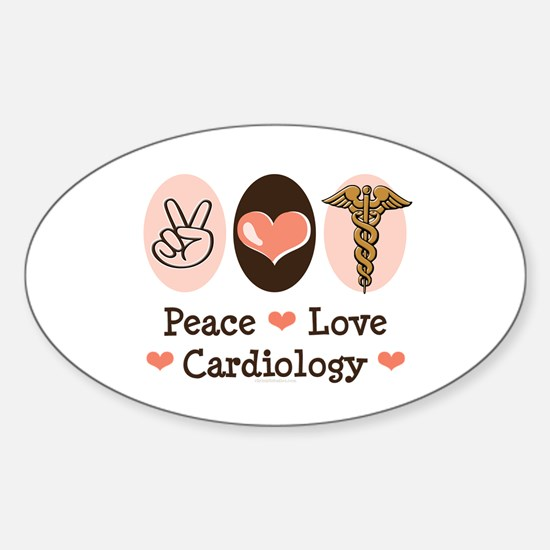 Peace Love Cardiology Oval Decal