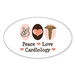 Peace Love Cardiology Oval Sticker (50 pk)