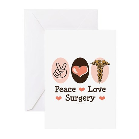 Peace Love Surgery Greeting Cards (Pk of 10)