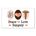 Peace Love Surgery Rectangle Sticker 50 pk)