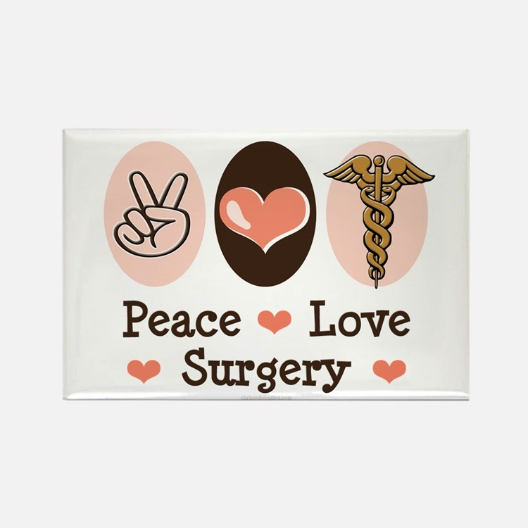Peace Love Surgery Rectangle Magnet