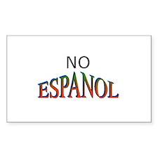 No Espanol Rectangle Decal