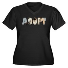 Adopt Dog Cut-Out Women's Plus Size V-Neck Dark T-