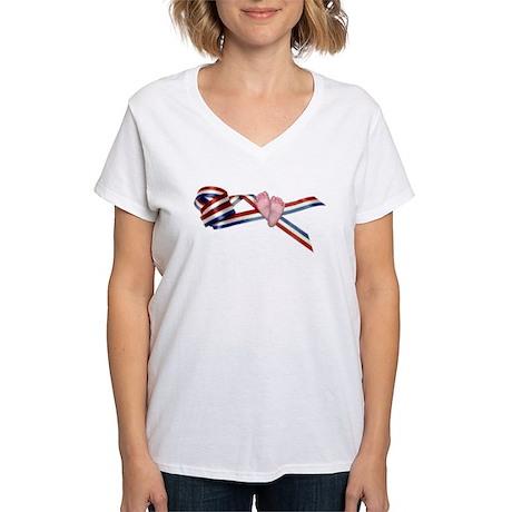 Prolife Ribbon Women's V-Neck T-Shirt
