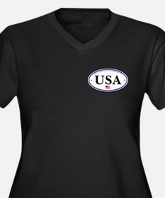 USA Emblem Women's Plus Size V-Neck Dark T-Shirt