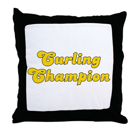 Retro Curling Cha.. (Gold) Throw Pillow