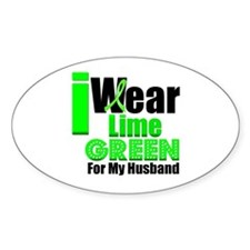 Lime Green Ribbon Oval Sticker (10 pk)
