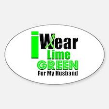 Lime Green Ribbon Oval Sticker (10 pk)