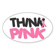 Think Pink 4 Oval Decal