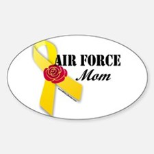 Air Force Mom (Ribbon Rose) Oval Decal