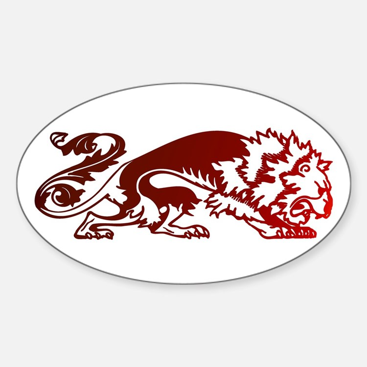 Red Lion Oval Decal