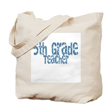 Distressed Blue 5th Grade Tote Bag