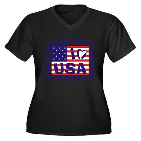 I LOVE USA Women's Plus Size V-Neck Dark T-Shirt