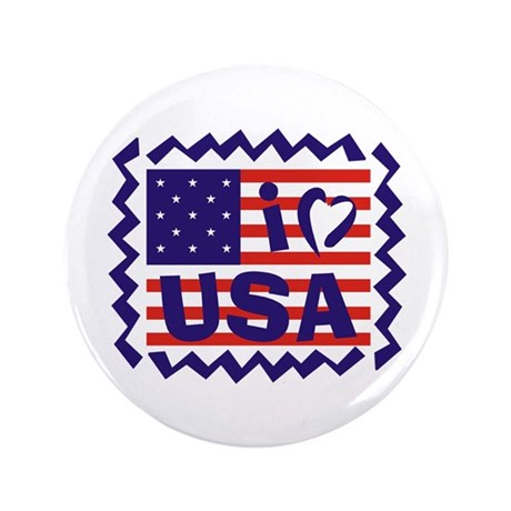 "I LOVE USA 3.5"" Button"