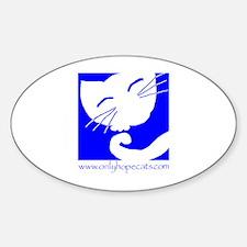 Blue Sleepy Cat Oval Decal